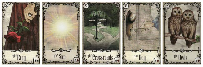 Finding my voice with the Lenormand: Ring, Sun, Crossroads, Key and Owls, from the Under the Roses Lenormand by Kendra Hurteau & Katrina Hill