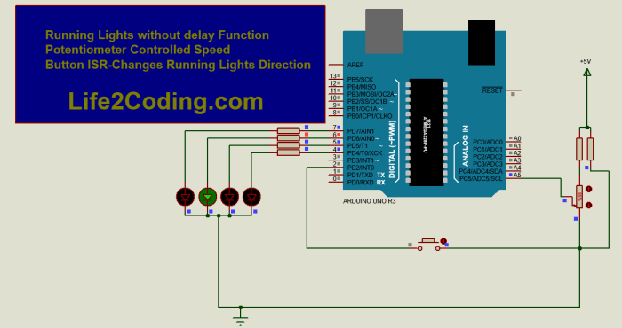 Running Lights without delay() Function with 1 Button ISR - Life2Coding