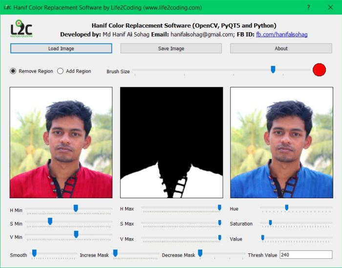 OpenCV Color Replacement Software using PyQT5 and OpenCV Library
