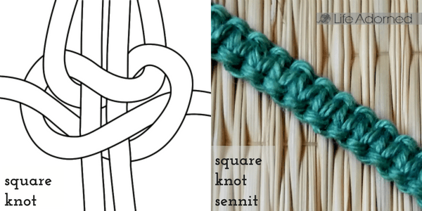 Basic macrame knots: how to make a square knot sennit