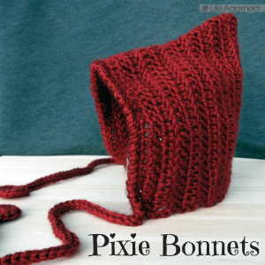 Babies are so fun to crochet for. It's all adorable, and this pixie bonnet is no exception. I quickly made four of these using Shara Lambeth's free pattern.