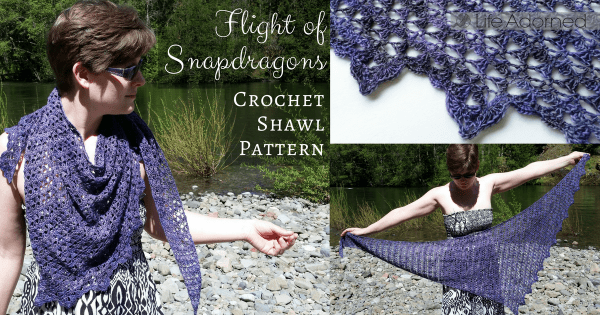 Flight of Snapdragons is an asymmetrical triangle with scallops on one edge. Download the crochet pattern for this lightweight and elegant flowery shawl.