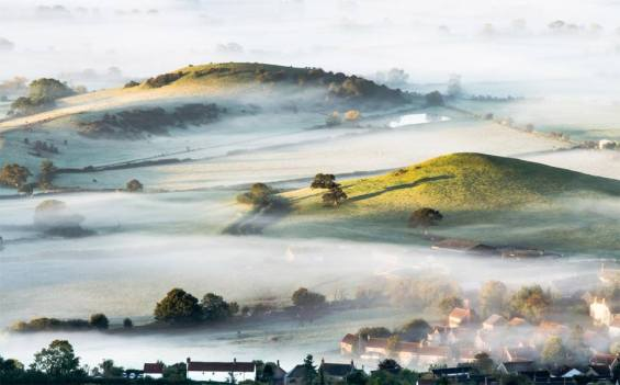 mist over countryside England