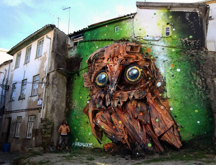 06-Bordalo II - Amazing Street Art Murals From Trash