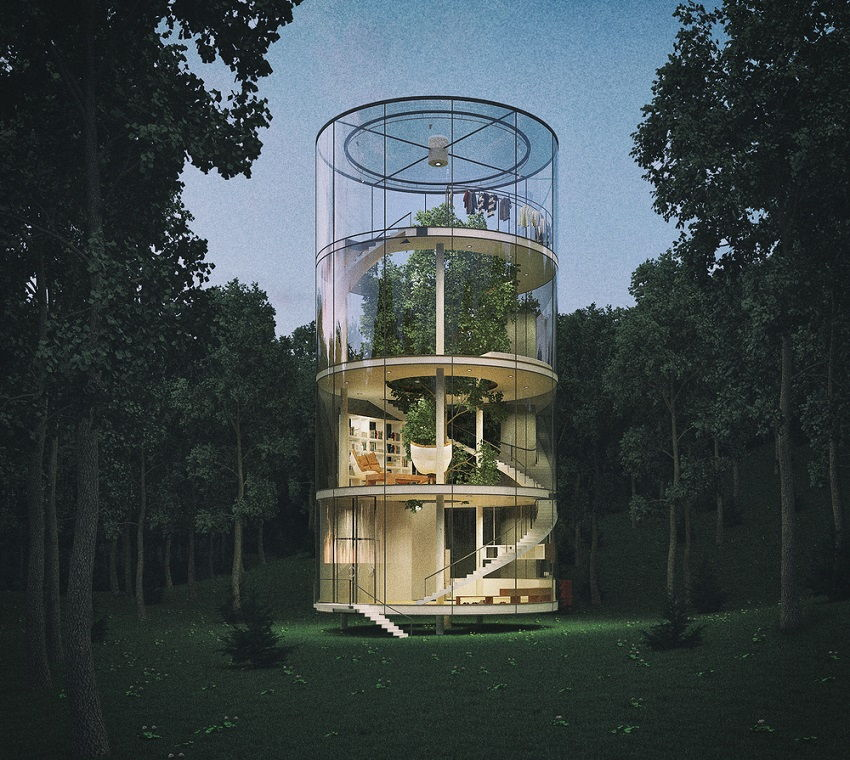 Treehouse of the future- Cylindrical Glass House