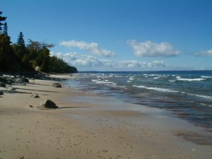 Sand drifts along the shoreline of Michigan's Easter Upper Peninsual