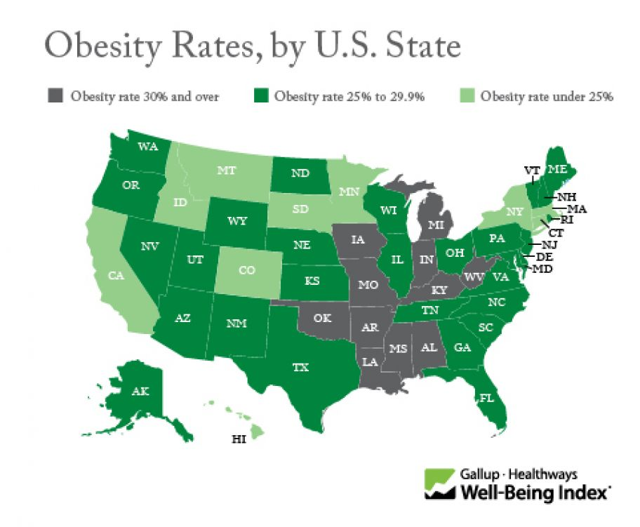 Obesity Rate by U.S. State 2014 - Gallup