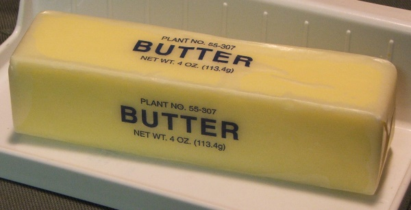 Stick of butter with label. (Source: Morguefile)
