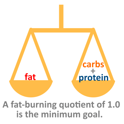 A fat burning quotient of 1 is when fat weight equals carbs plus protein