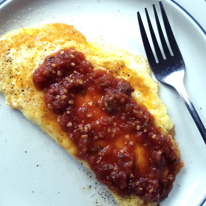 2-egg cheese omelette with salsa