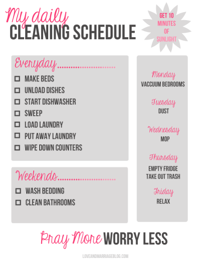My Daily Cleaning Schedule