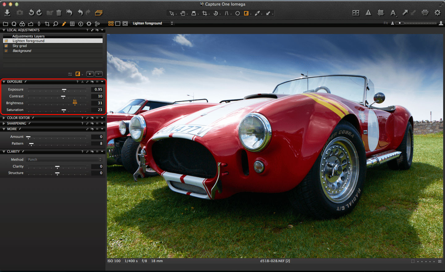 Capture One gradient mask