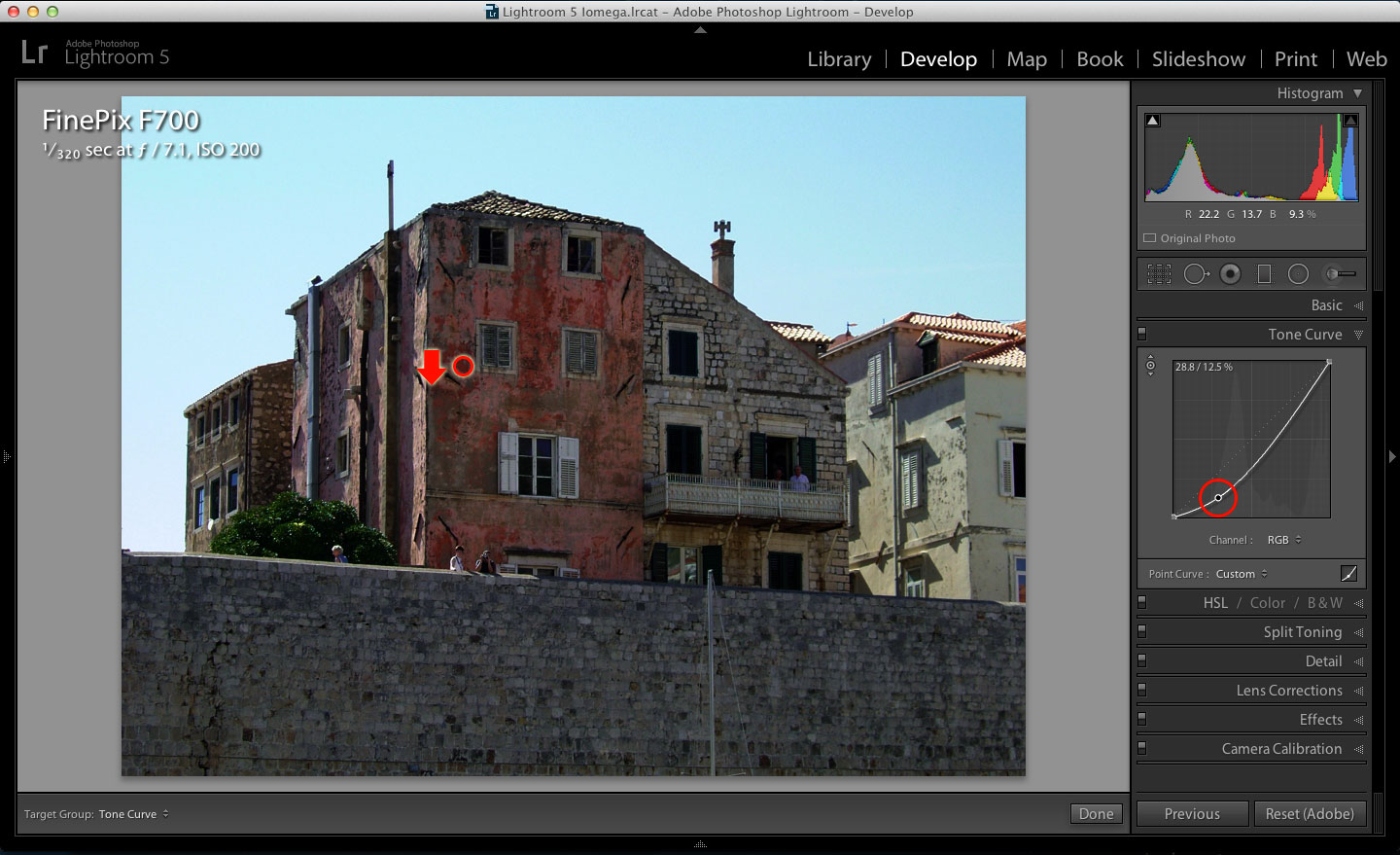 Adjusting the point curve in Lightroom