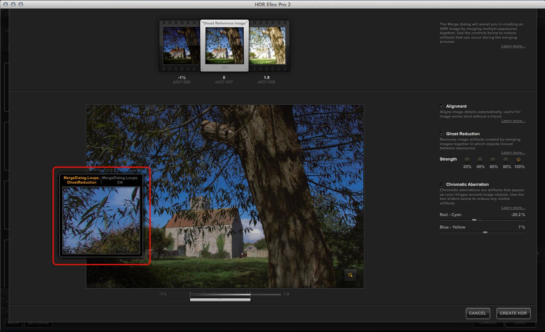 HDR Efex Pro merge tools