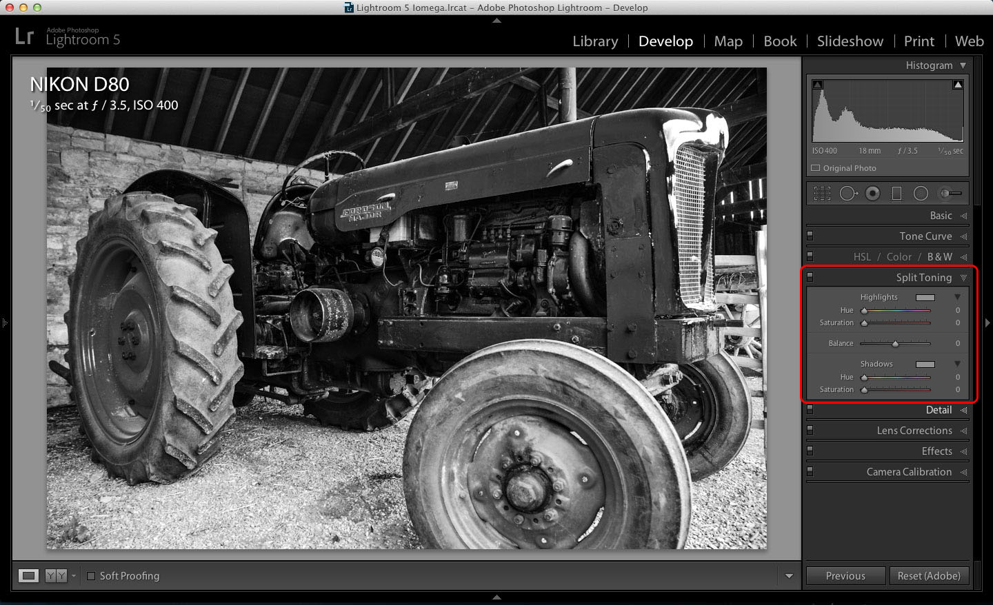 Lightroom Split Toning tools