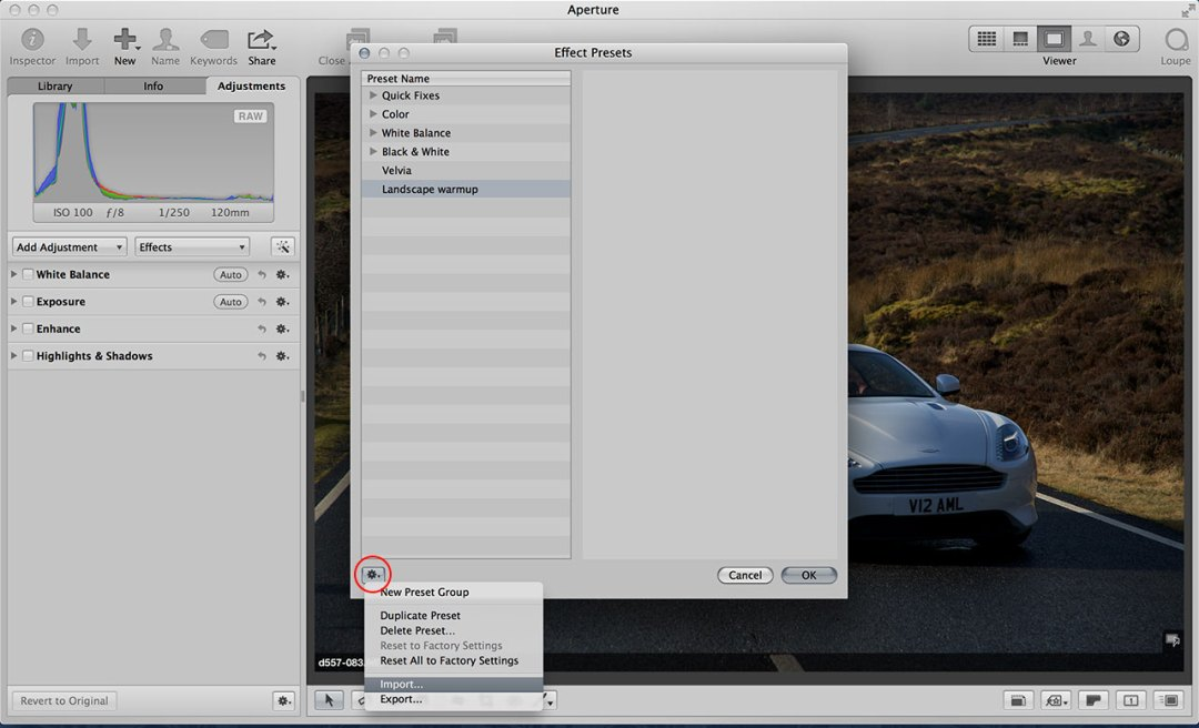 How to import Aperture effects