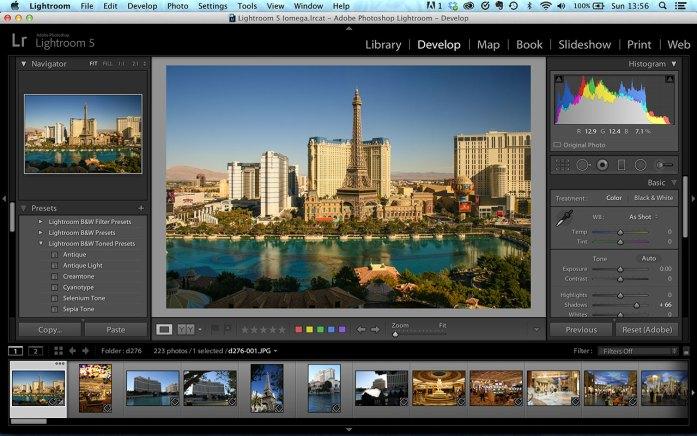 Adobe Lightroom 5 workspace