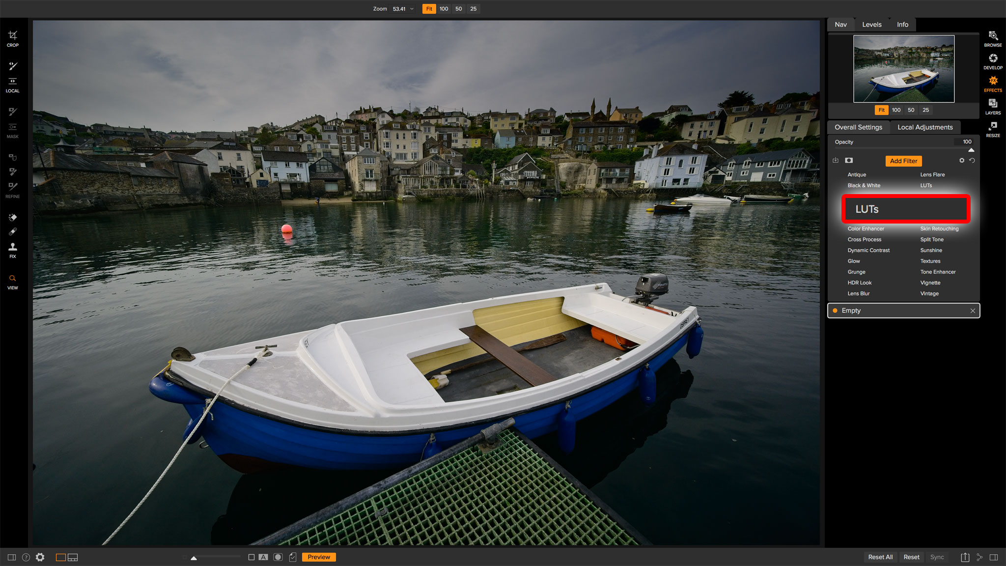 ON1 Photo RAW 2018.5 LUTs filter