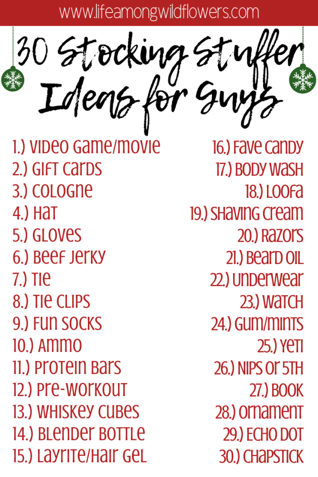 Looking for last minute gift ideas for guys? Here's 30 ideas to get you started!