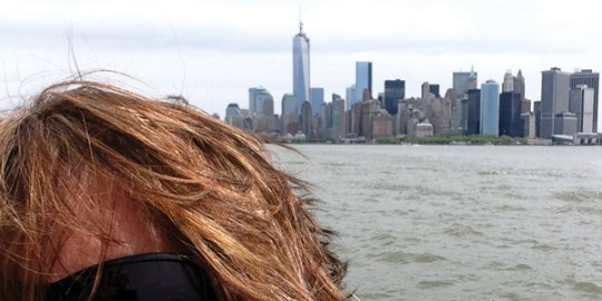 My crappy attempt at a selfie with lower Manhattan in the background