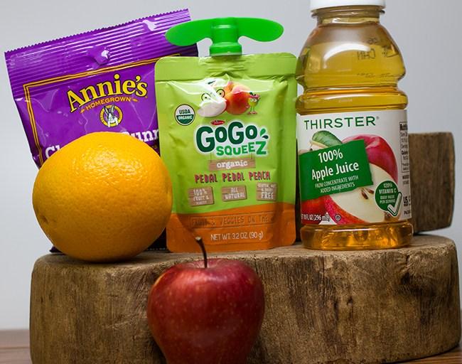 Fruit, juice, snacks