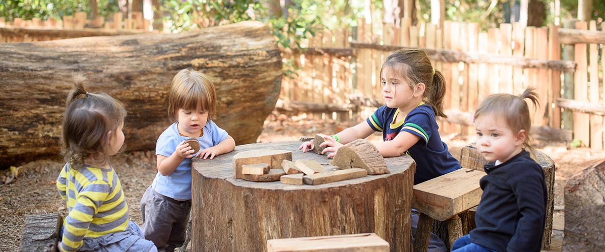 4 kids play at stump