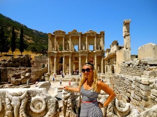 Exploring Roman ruins at Ephesus