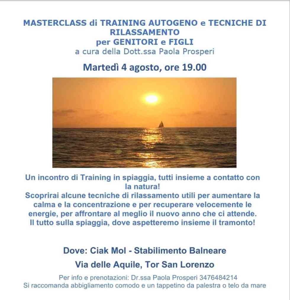 Masterclass di training autogeno e tecniche di rilassamento per genitori e figli