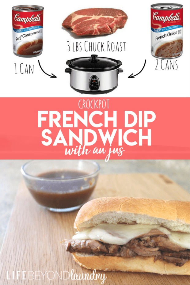 Crockpot french dip sandwiches with Au Jus Sauce- Easy Recipe for lunch or dinner! Crockpot dump meals!