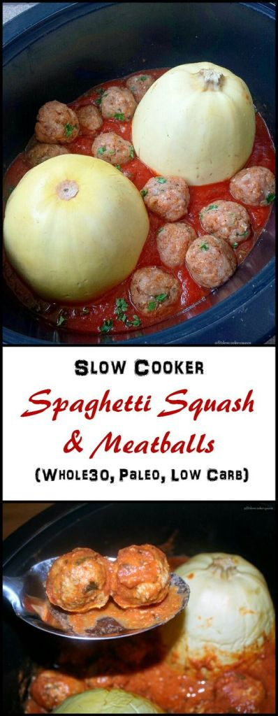 Spaghetti squash in the CROCKPOT! The most delicious Keto friendly crockpot dinner! Simple, low carb, quick dinners that can be made on a week night! Beef and chicken dinner recipes