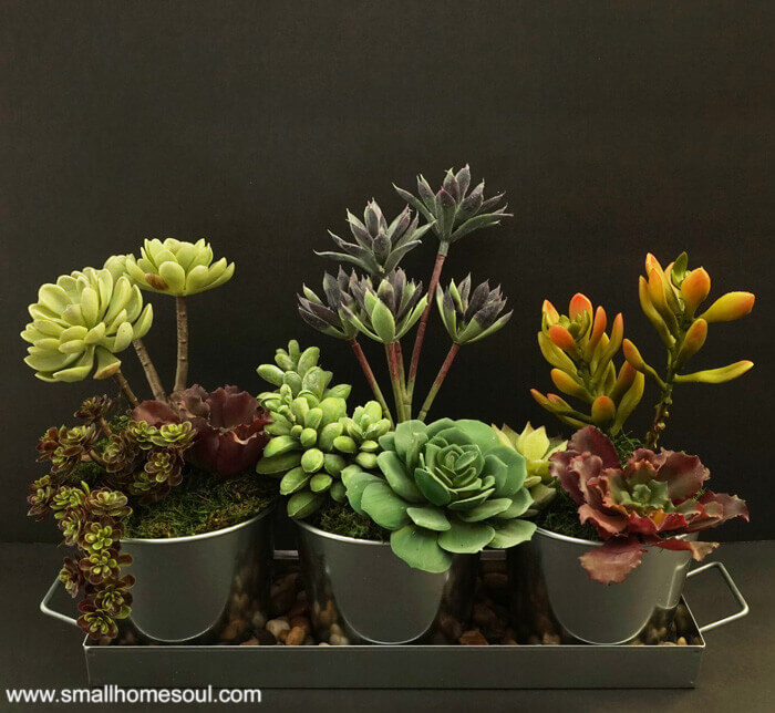 Faux Succulent Planter by Small Home Soul ~ Featured Project at Creatively Crafty ~ Life Beyond the Kitchen