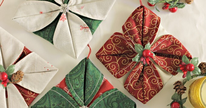 Easy Folded Fabric Ornaments You Can Make Tonight! ~ Life Beyond the Kitchen