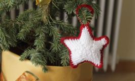 Red and White Knitted Ornaments for Christmas
