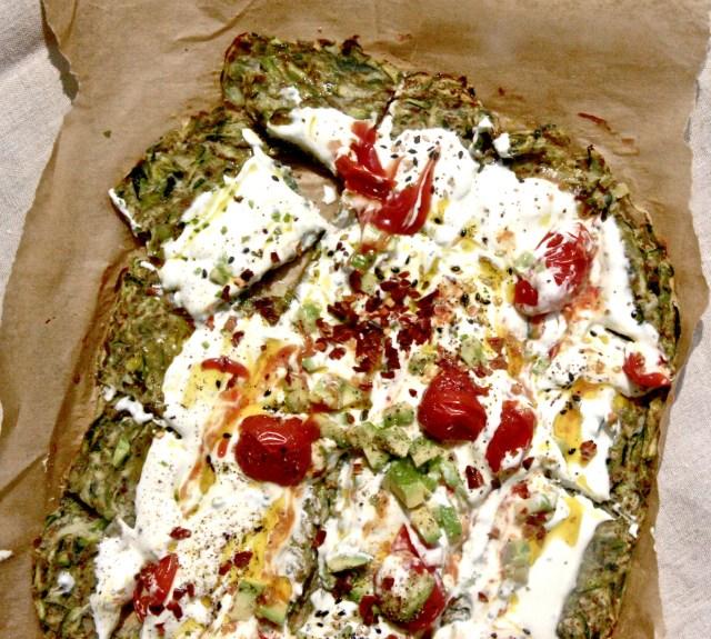 Courgette flatbread vegan meal idea