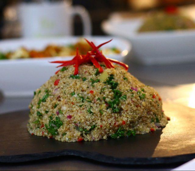 Healthy vegan quinoa salad