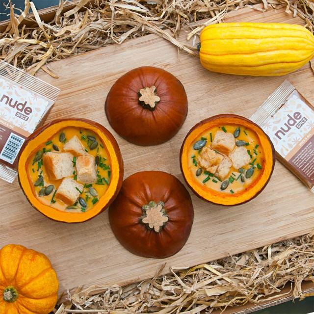 nude spice Pumpkin bowl soup