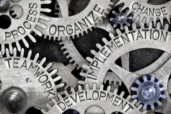 Process, Organizing, Change, Teamwork, Development, Implementation Written on Cogs
