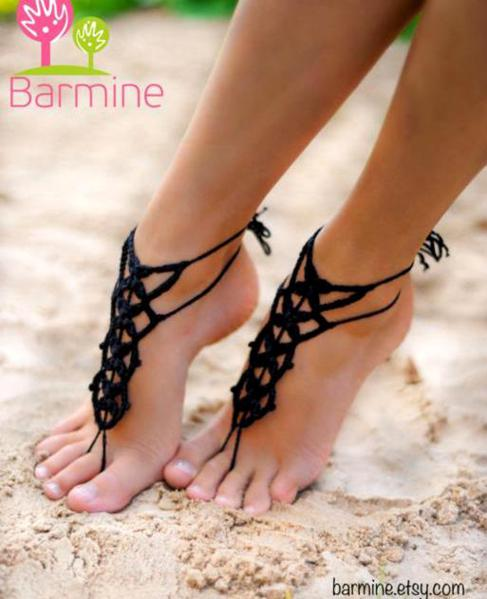 Crochet Barefoot Sandals Designs By Barmine