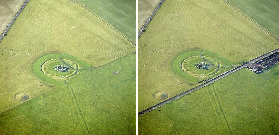10. Stonehenge rocks in a field.