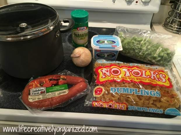 Just 6 ingredients to make delicious kielbasa and Parmesan noodles.