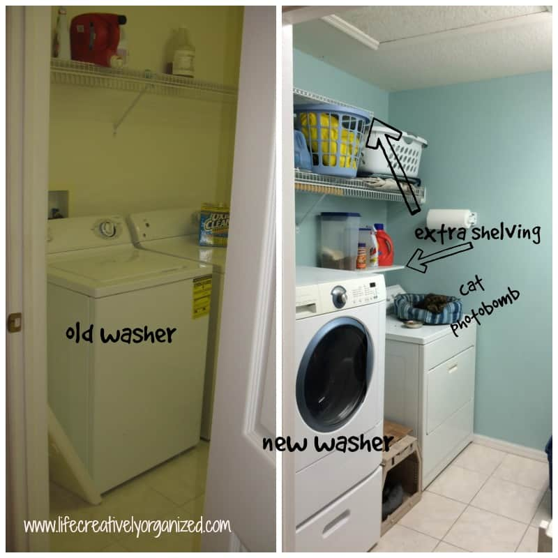 extra shelving over dryer in laundry room