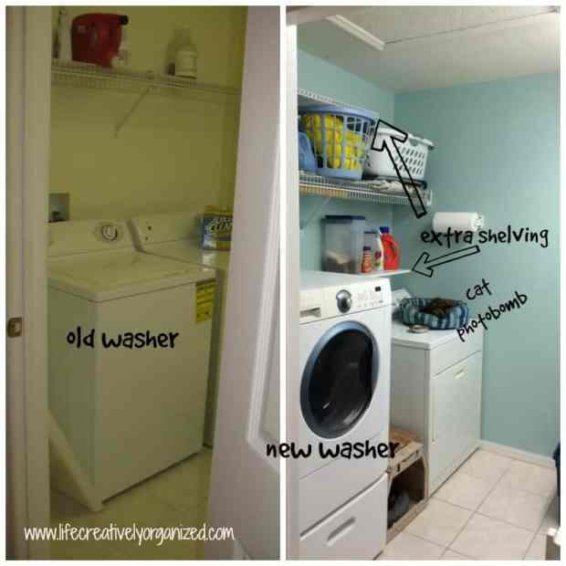 7 ways to make your laundry room better! Add extra shelving over dryer in laundry room