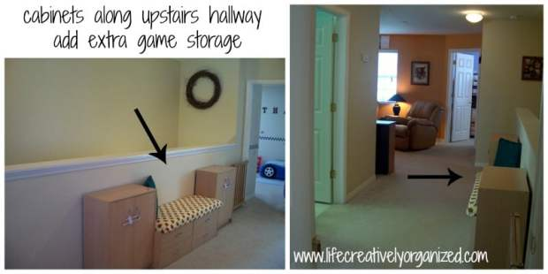 Here are some beautiful ways to add more storage in your home using re-purposed items, like hallway game storage cabinets.