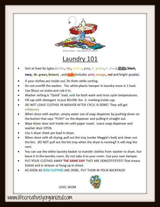 7 ways to make your laundry room better! Detailed list I created for my kids to do their own laundry.