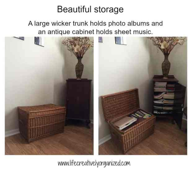 Here are some beautiful ways to add more storage in your home using re-purposed items, like a wicker trunk and antique cabinet.