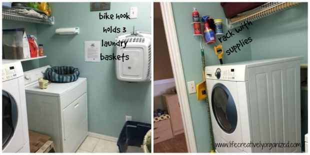 10 ways to make doing kids' laundry easier! Laundry steps sign posted next to washer and dryer for kids.