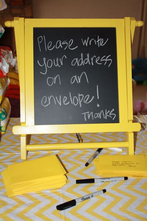 Graduation party decorations - Thank you envelopes for guests to address make it much easier for a graduate to get those thank you notes written!