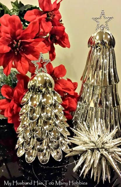 10 clever crafts using plastic spoons - elegant silver tabletop Christmas trees