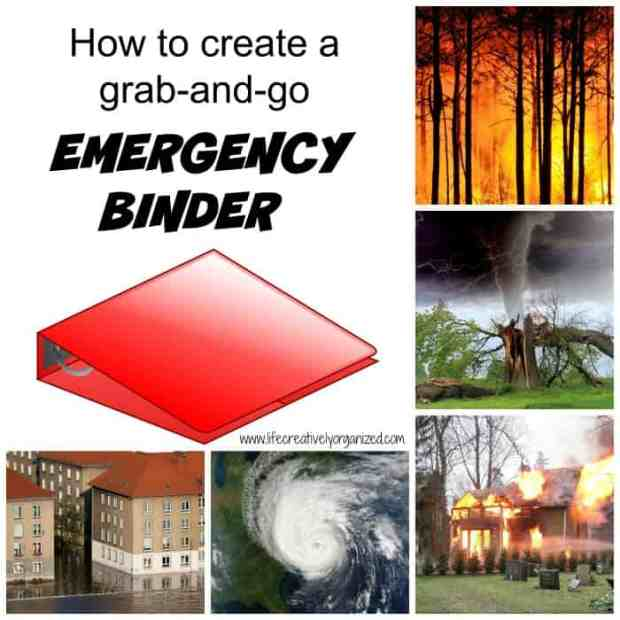 How to create an emergency binder that keeps all of your important papers together in one place so you can take it with you quickly in the event of an emergency such as a tornado, hurricane, fire, or flood. With free printable.