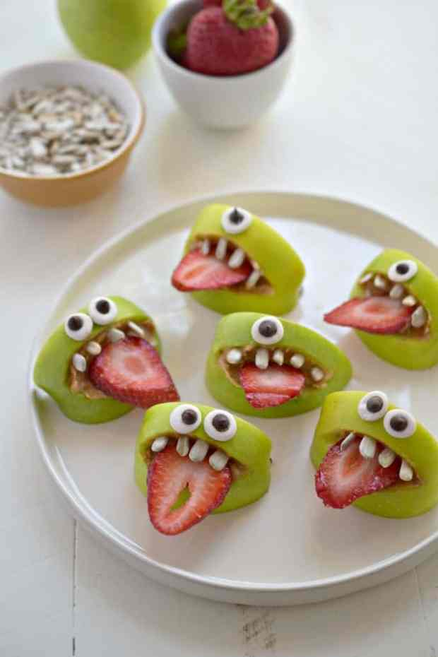 10 fun school snacks. These just made me laugh. I can see these being a big hit with kids (they were with my son)! I think the sunflower seed teeth are the best part!